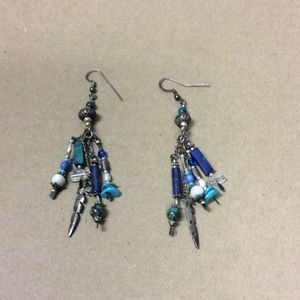 Jewelry - Vintage sterling silver and beaded earrings.