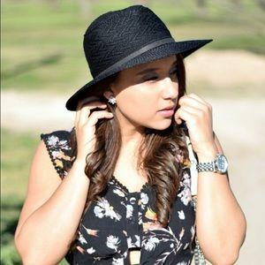 Black Fedora Crochet Knit Panama Hat