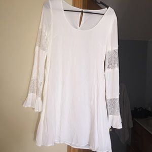 Tobi white long sleeve with lace dress, small