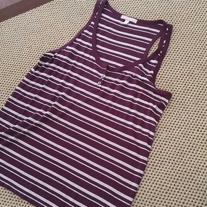 Banana Republic Tops - Banana Republic maroon striped tank