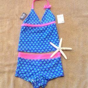 9d2b0a28c2 OshKosh B'gosh Swim - UPF Sun Protection Hearts Boy Shorts Tankini Set