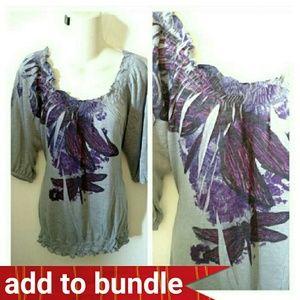 Xhilaration Tops - Xhilaration purple blouse XL dragonfly stretchy