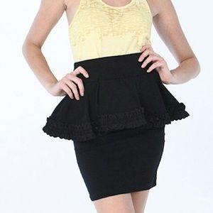 Betsey Johnson Black Pencil Peplum Skirt