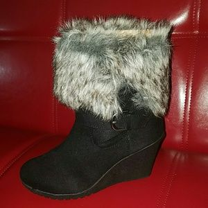 "Black faux suede boots with fur trim & 3"" wedge"