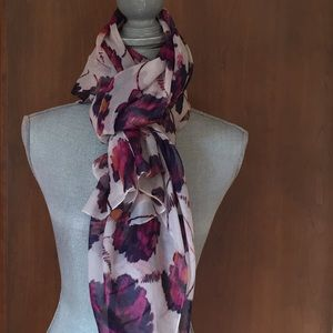 Accessories - Cream Silk Scarf with Pink and Purple Flowers
