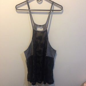FREE PEOPLE Black Lace and Tweed Tunic Top
