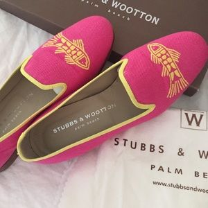 Stubbs & Wootton fuschia linen loafers yellow fish
