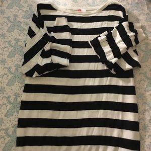 Black/White Striped Off shoulder Oversized sweater