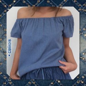 Atid Clothing Tops - JUST IN🆕Chambray Denim Off Shoulder Top M/L/XL