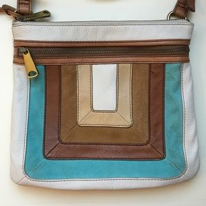 Fossil Leather and Suede Crossbody