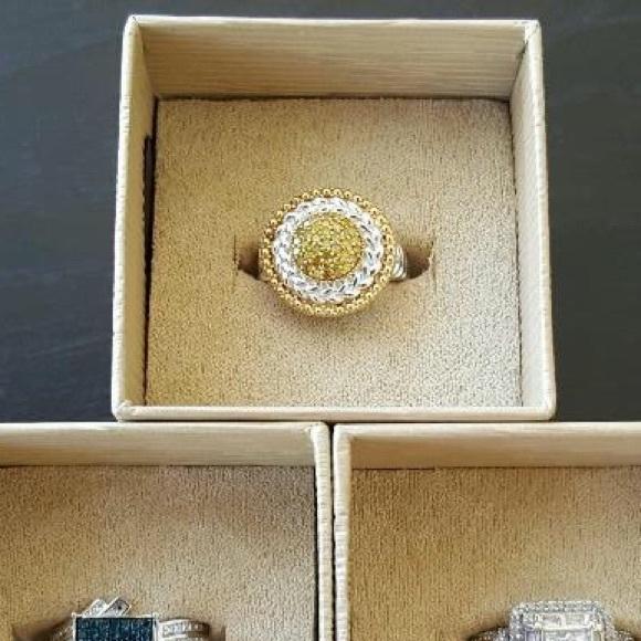Jtv Diamond Rings >> Jtv Sterling Silver Ring With Yellow Diamonds