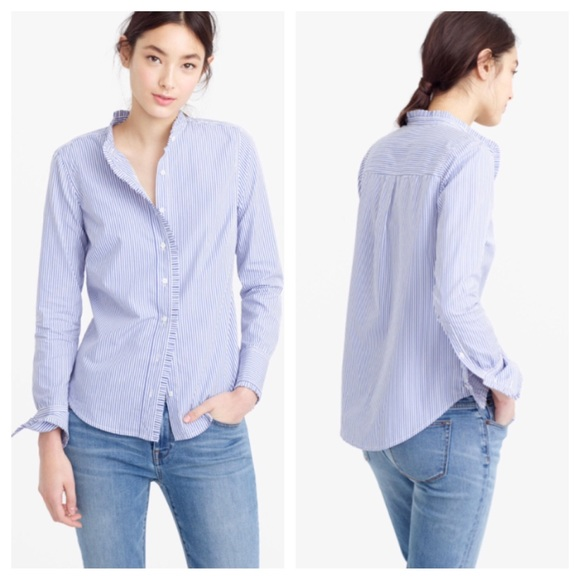 eb376d95 J. Crew Tops | J Crew Ruffled Striped Blue White Button Up Shirt ...