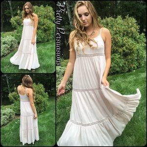 Pretty Persuasions Dresses & Skirts - SALE🌻NWT Cream Floral Crochet Boho Maxi Dress
