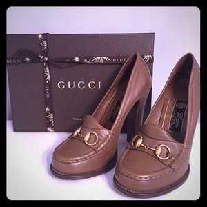 Gucci Leather High heel Loafers with Gold Bit