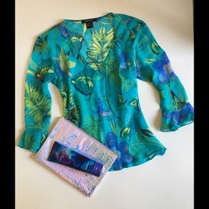 Karen Kane Tops - Tropical colored silk sheer blouse