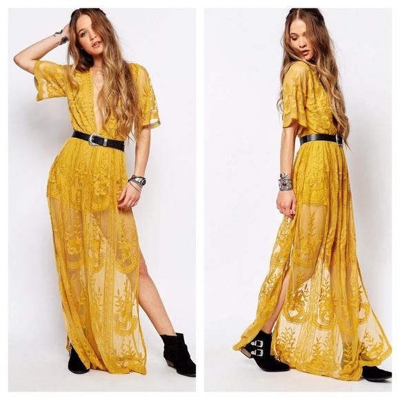 53a13218dbd  LAST1 Chloe Yellow Lace Maxi Dress. Boutique. Honey Punch