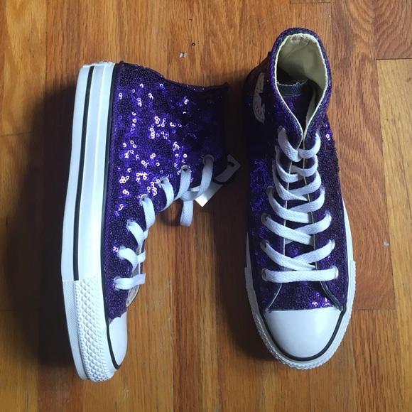 16a5ccfdff88 Converse Chuck Taylor Purple Sequin Hi Tops Shoes