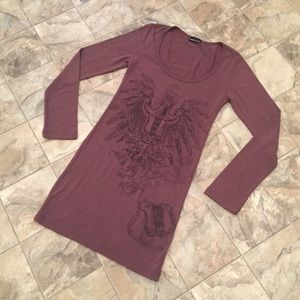 WET SEAL purple graphic sweater