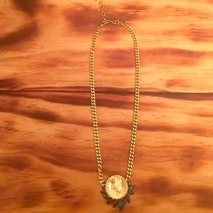 Coin necklace w emerald accents