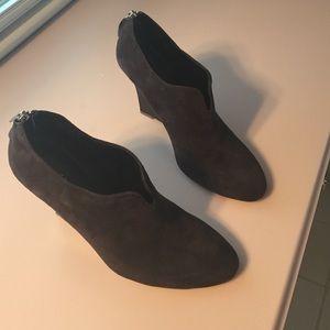 Ellie Tahari grey suede booties.