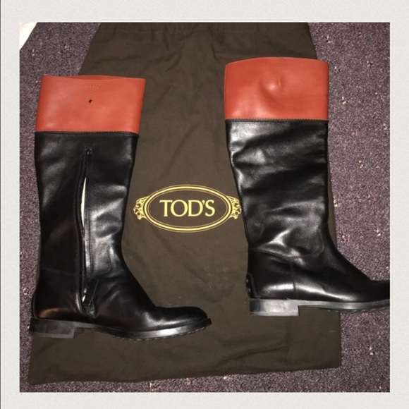 81% off Tod\'s Shoes - Tod\'s Two Tone Leather Riding Boots from ...