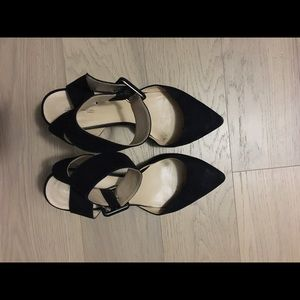 Black zara pumps with ankle strap