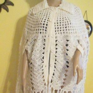 Vintage Other - Vintage 60s White Crochet Poncho Make Offer