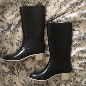 CHANEL Black Heeled Rain Boots