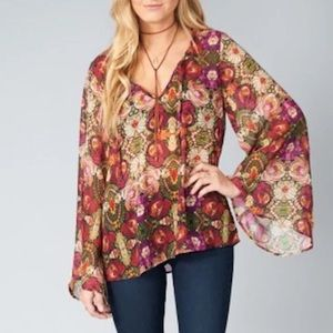 Show Me Your MuMu Tops - SHOW ME YOUR MUMU Spring Coverup Intricate Blouse