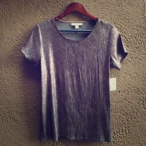 NWT All Over Sequin Tee Coldwater Creek Silver