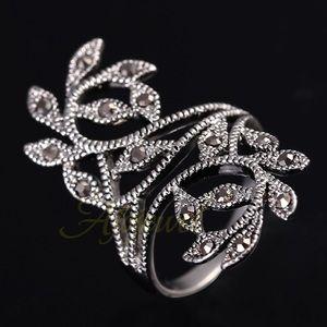 Jewelry - Antique Silver Black Marcasite Retro Vintage Ring