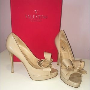 Valentino Shoes - Valentino Nude Patent Open Toe Pump Heels with Bow