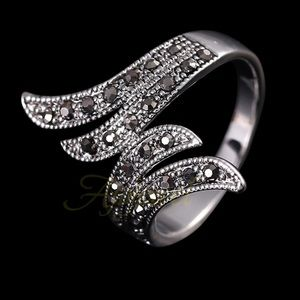 Jewelry - Marcasite Angel Wing Vintage Silver Boho Ring NWT
