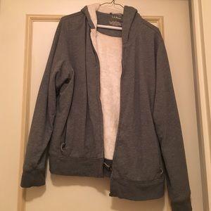 Grey fuzzy zip up sweatshirt
