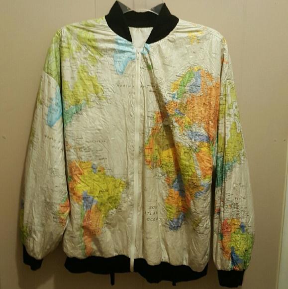 Jackets coats world map jacket poshmark world map jacket gumiabroncs Image collections