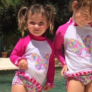 2Chillies Other - UPF Protection Floral Rash Guard Set