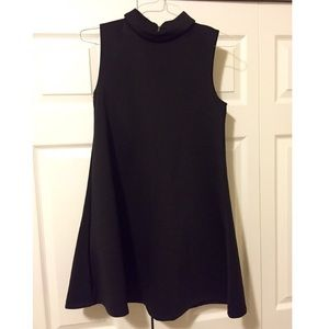 Black collared shift dress