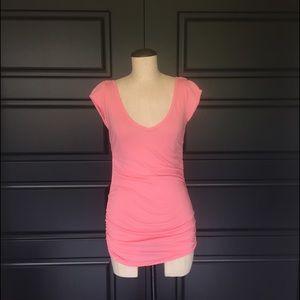 C&C California Tops - Long C&C California Deep V Neck Shirt Small Pink