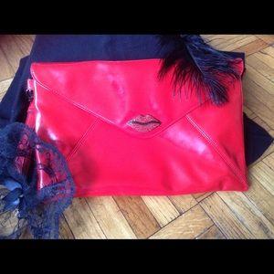 Kirna Zabete Handbags - Hot-Red Faux Patent Kiss Clutch💋💋