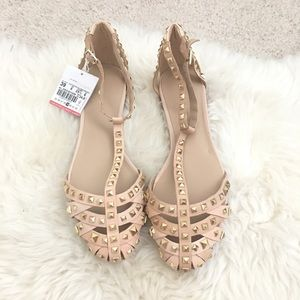 Zara Shoes - ZARA Studded Ankle Strap Flats size 39