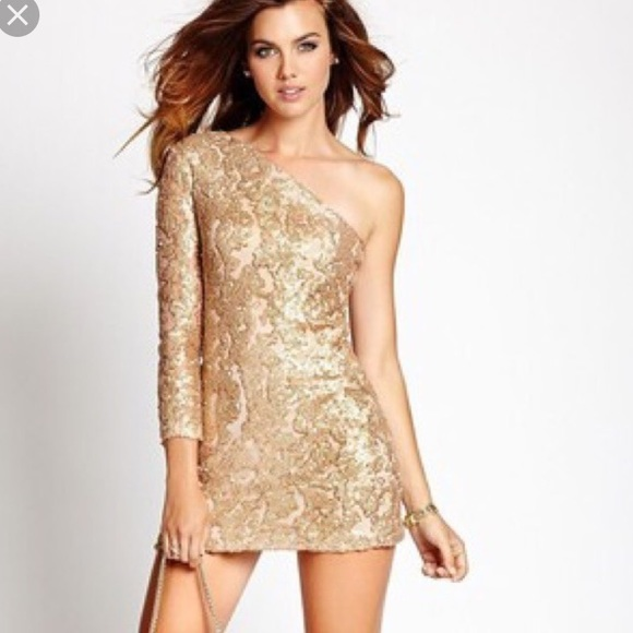 61% off GUESS Dresses &amp Skirts - Guess gold sequin one shoulder ...