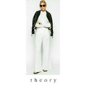 THEORY - LINEN  WIDE LEG PANTS