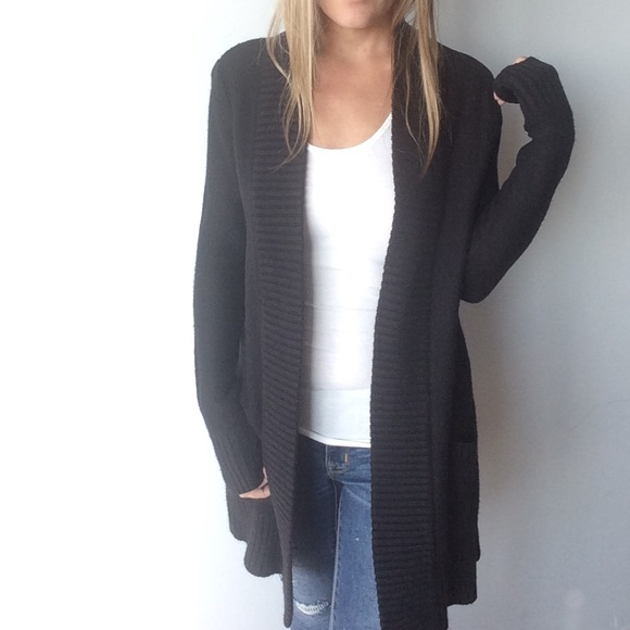H&M - H&M long black open front cardigan with pockets from Elle's ...