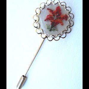 Jewelry - Charming Petit Point Cross Stitch Flower Stick Pin