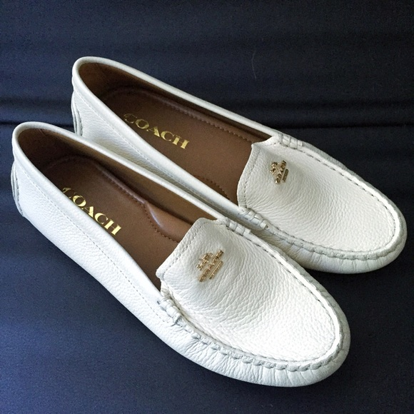 83def798c71 Coach Amber Ivory Chalk Leather Slip Ons Loafers