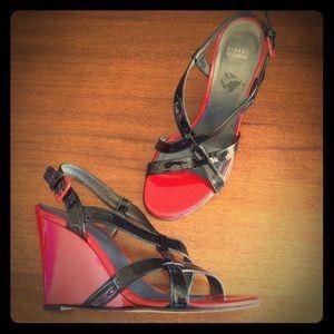 Stuart Weitzman Shoes - Sexy Stuart Weitzman Red & Black Patent Slingbacks