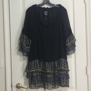 Dresses & Skirts - Boho Tunic Dress black with paisley ruffles L