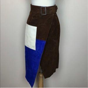 11906928e Asos Skirts | Colour Block Suede Wrap Pencil Skirt | Poshmark