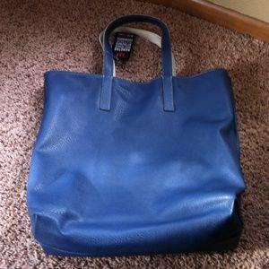 Reversible Blue/ White Justfab Tote Bag