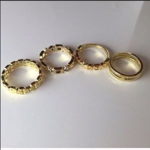 Iconic Legend Jewelry - 4 pcs set of Gold rings